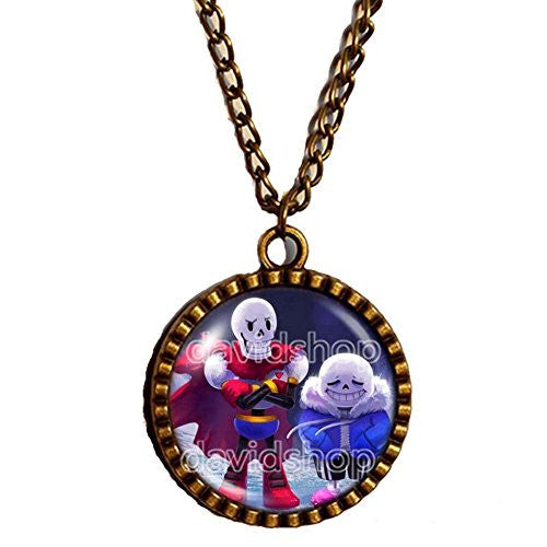 Undertale Necklace Art Glass Pendant Fashion Jewelry Game Sans Papyrus Skull New