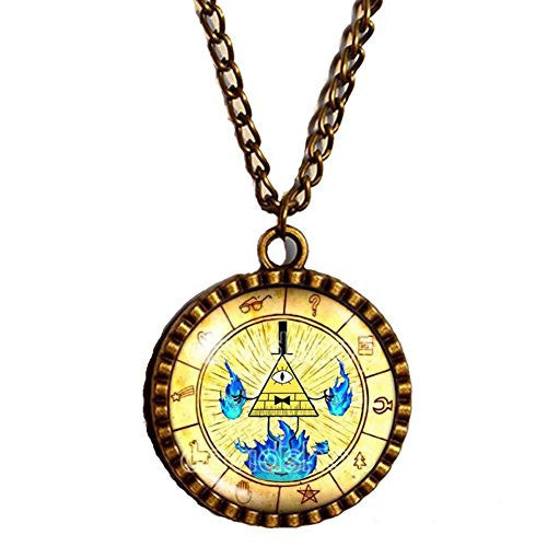 Gravity Falls Bill Cipher Wheel Necklace Art Pendant Jewelry Stanley Soos