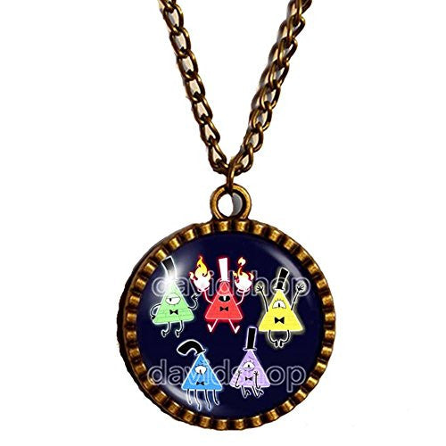 Inside Out Gravity Falls Bill Cipher Wheel Necklace Pendant Jewelry Gift Chain