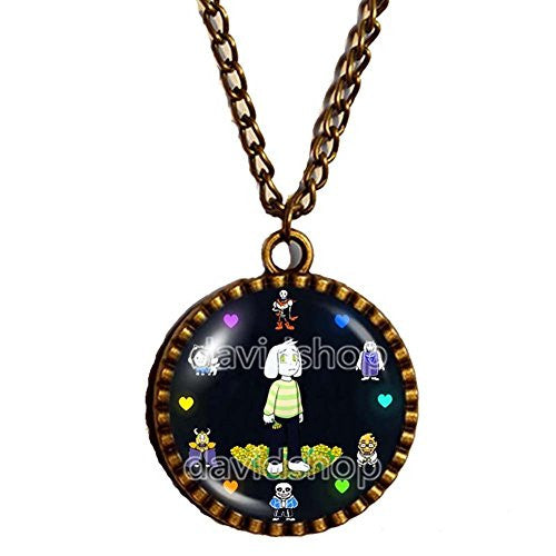 Undertale Necklace Art Glass Pendant Fashion Jewelry Game Sans Gaming Hip-Hop