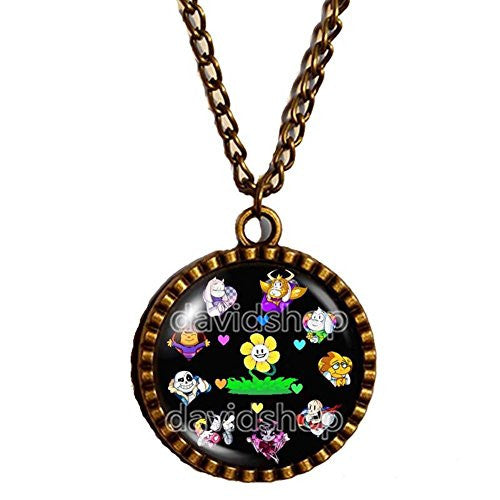 Undertale Necklace Pendant Jewelry Game Undyne Vulkin Toriel Heart Shaped Sunflower
