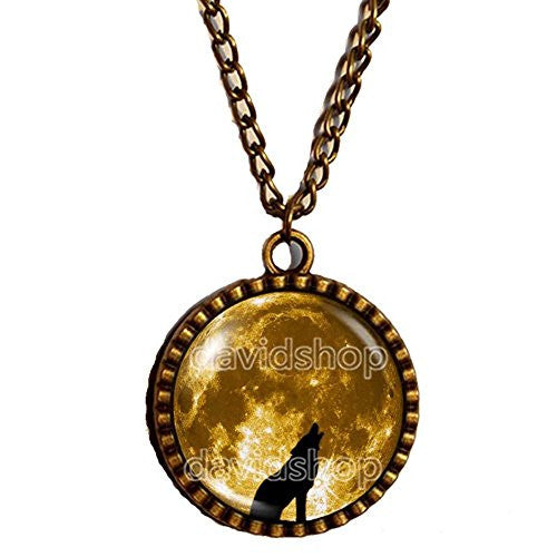 Full Moon necklace Teen Wolf Triskele Art glass Pendant Fashion Jewelry Chain