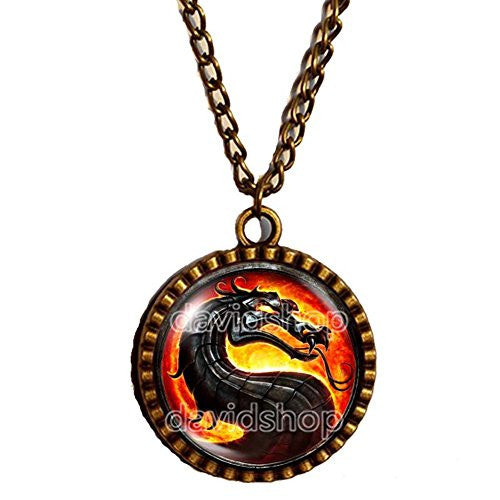 Mortal Kombat X Dragon Necklace Art Pendant Fashion Jewelry Game Funny Cute Chain