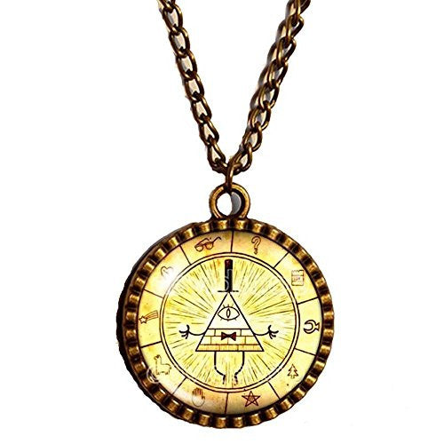 Gravity Falls Bill Cipher Wheel Necklace Antique Glass Pendant Jewelry Hot Chain