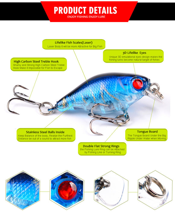 Fishy™ Premium Crank Carbon Steel Treble Hook Bait Pack [5PCS]