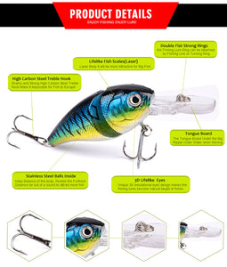 Fishy™ Premium 2 Sections Crank Bass Bait Pack [6PCS]