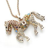 Jewad™ 2017 Multicolor Crystal Rhinestone Horse Necklace