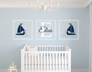 Sticy™ Premium Young Fisherman Custom Name Large Size Wall Sticker