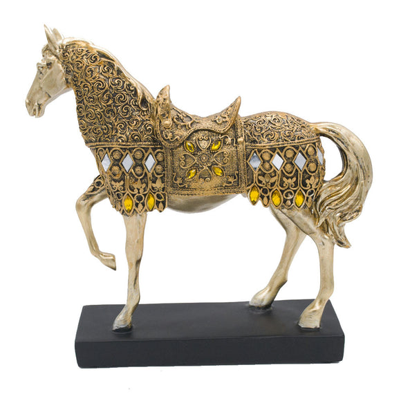 Jewad™ NEO Height Golden Trotting Horse Statue