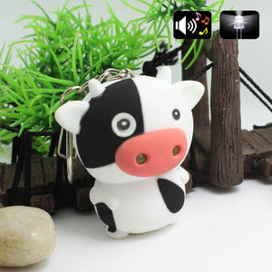 Cow LED Keychain With Sound Flashlight