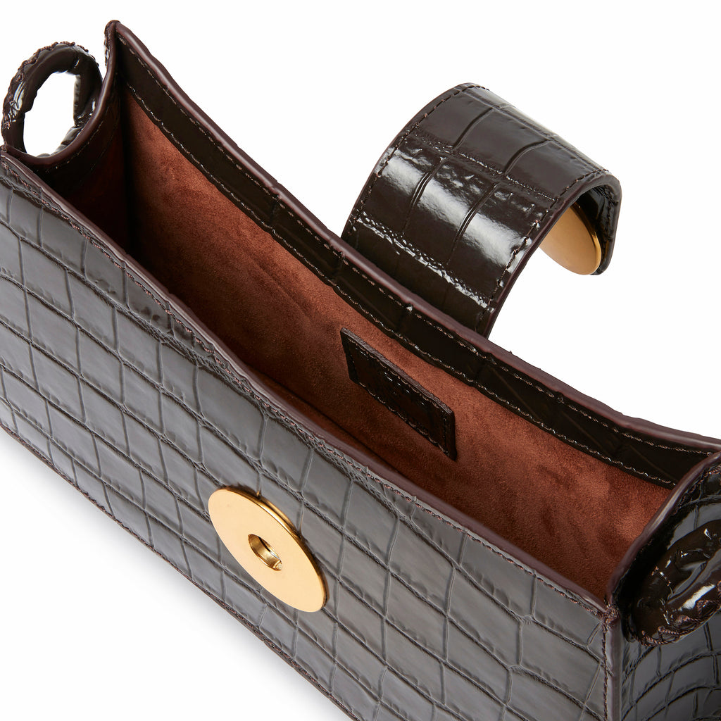 Baguette <span>Croco Embossed leather Dark Brown</span>