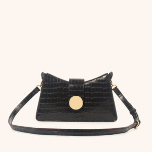Baguette - Croco Embossed leather <span>Black</span>