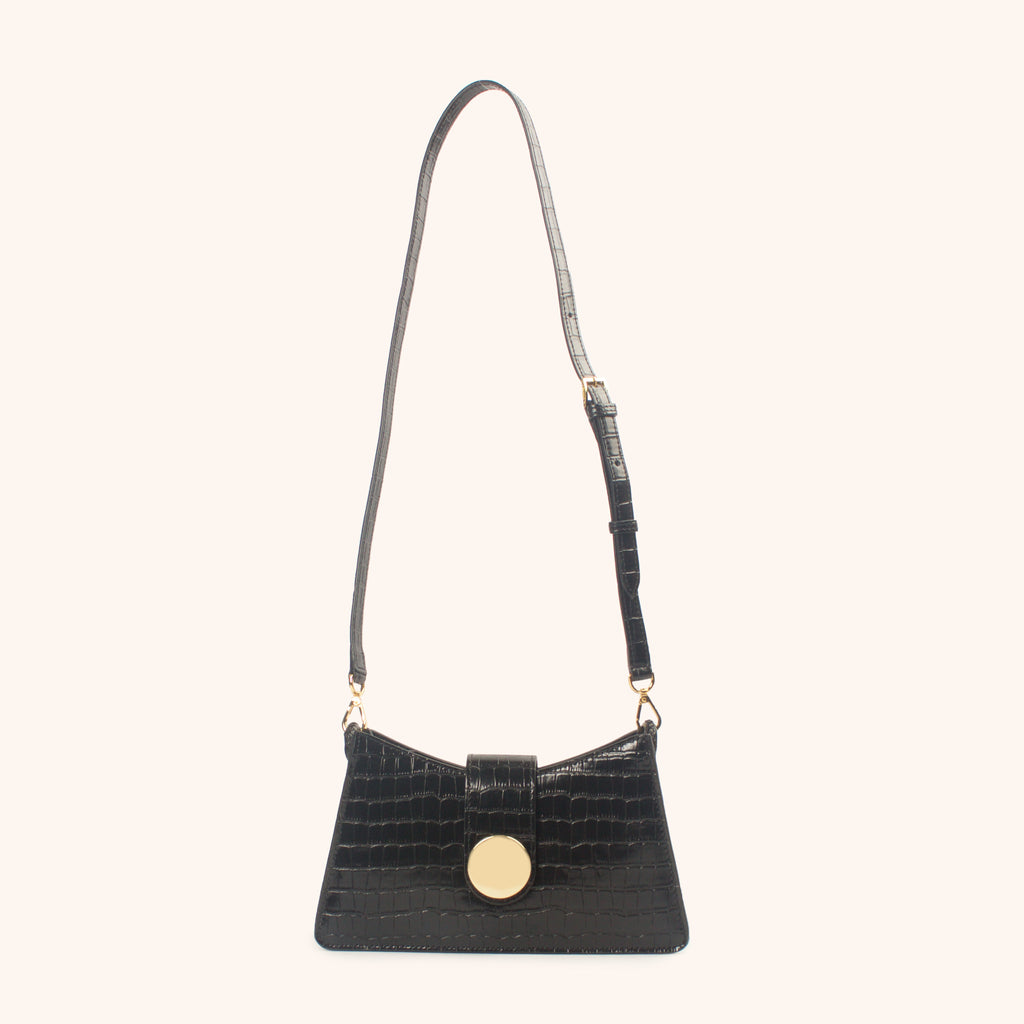 Baguette - Black Croco Embossed leather