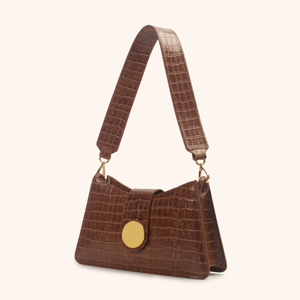 Baguette <span>Croco Embossed Leather Cognac</span>