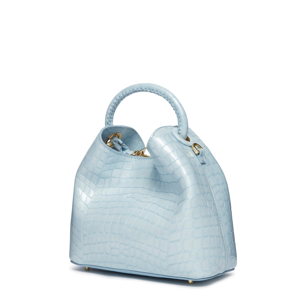 Baozi Croco Pearl Leather Sky Blue