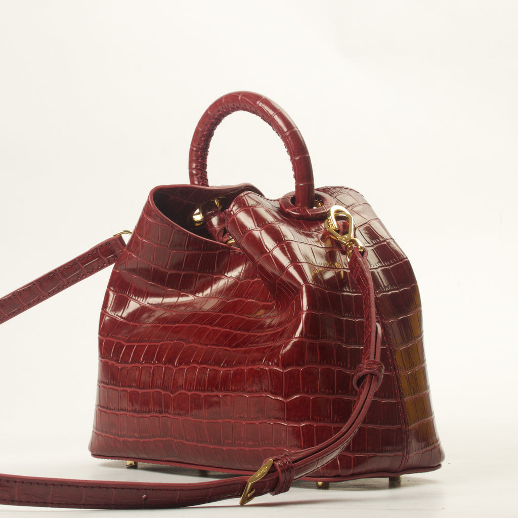 Baozi <span>Croco Embossed Leather Burgundy</span>