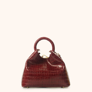 Baozi Croco Embossed Leather Burgundy