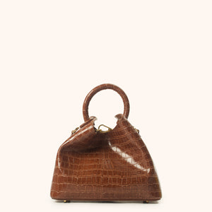 Baozi Croco Embossed Leather Cognac