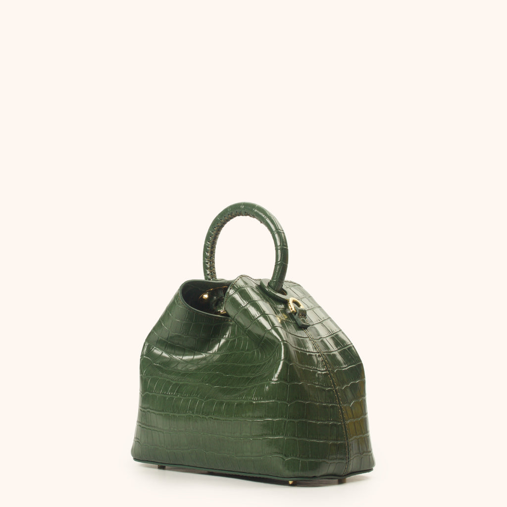 Baozi - Green Croco Embossed Leather