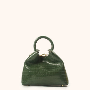 Baozi Croco Embossed Leather Green