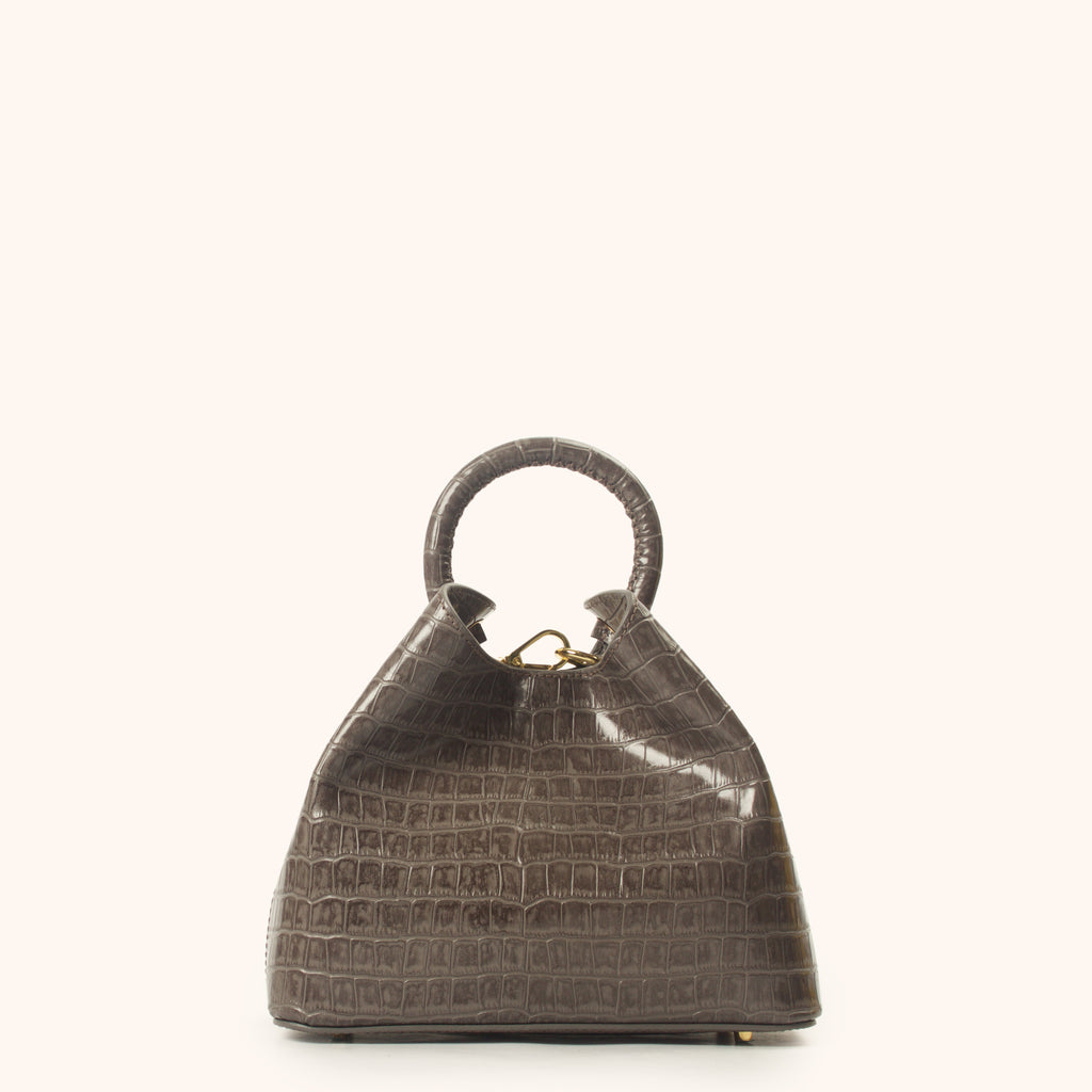 Baozi - Grey Croco Embossed Leather