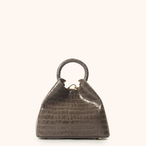 Baozi Croco Embossed Leather Grey