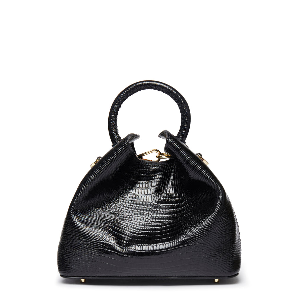 Baozi <span>Lizard Embossed Leather Black</span>