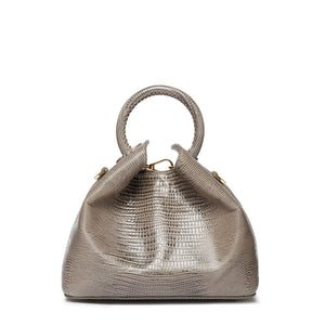 Baozi Lizard Embossed Leather Grey