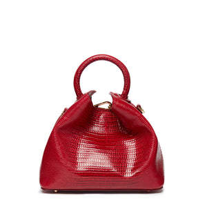 Baozi Lizard Embossed Leather Red