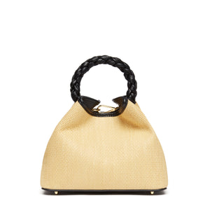 Baozi Tresse Raffia Leather Naturale/Black