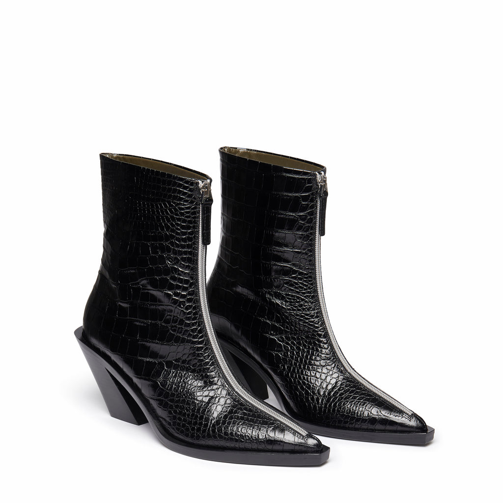 Eclair Zipper Boots Croco Leather Black