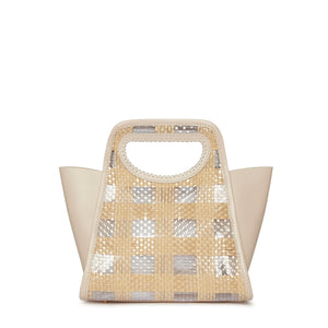 Cupidon Small Checkered Raffia/Beige