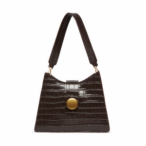 Cat Croco Embossed Leather Dark Brown