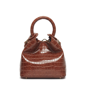 Madeleine Croco Embossed Leather Cognac