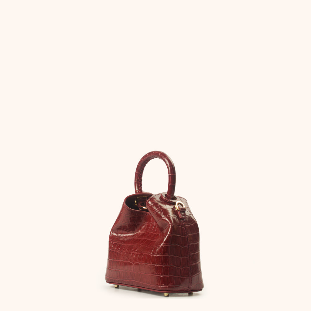 Madeleine - Burgundy Croco Embossed Leather