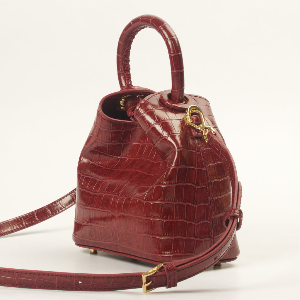 Madeleine <span>Croco Embossed Leather Burgundy</span>
