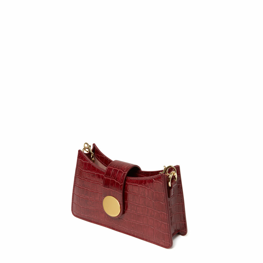 Mini Baguette <span>Croco Embossed Leather Burgundy</span>