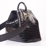Raisin - Black Croco Embossed Leather/ Delivery Mid November