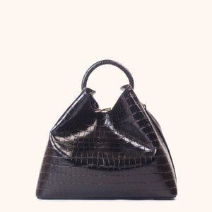 Raisin Croco Embossed Leather Black