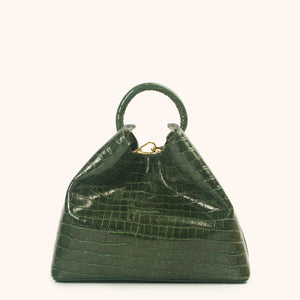 Raisin Croco Embossed Leather Green