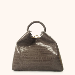 Raisin Croco Embossed Leather Grey