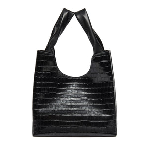 Shopper Croco Embossed Leather Black
