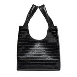 Shopper - Black Croco Embossed Leather