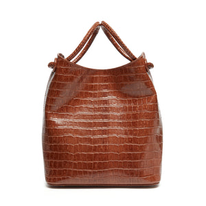 Small Vosges Croco Embossed Leather Cognac