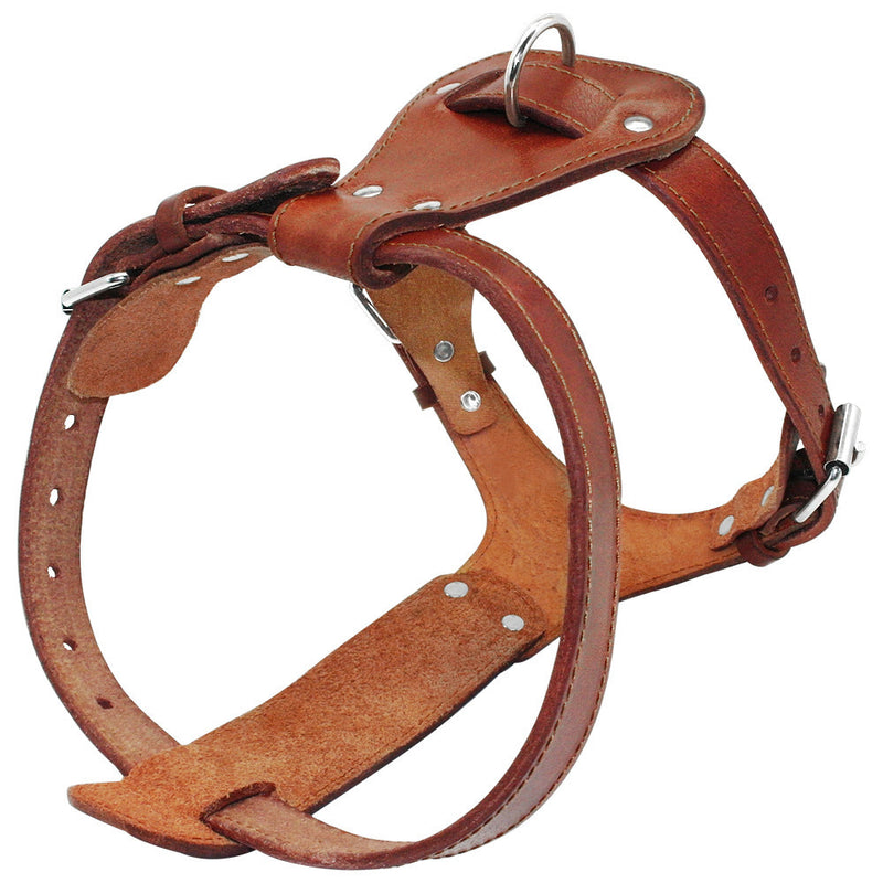 "Genuine Leather Dog Harness  Brown 16""-30"" Chest Adjustable Straps - Dog Toys Box"