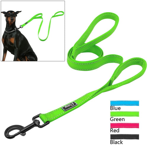 2 Handles Nylon Padded Double Handle Leash For Greater Control - Dog Toys Box