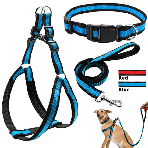 Adjustable Nylon Padded Step-In Pet Dog Harness&Collar&Bungee - Dog Toys Box