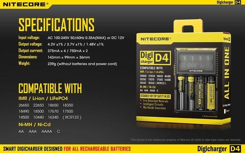 Nitecore D4 Quad Bay LCD Battery Charger