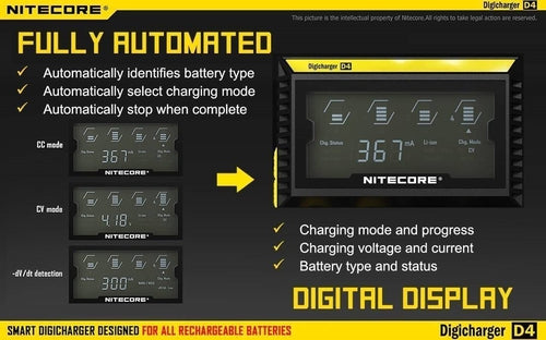 Nitecore D4 Quad Bay LCD Battery Charger-4