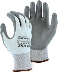 Majestic 37-3436 Cut-Less Diamond Seamless Knit White Glove with Gray Polyurethane Palm (One Dozen)
